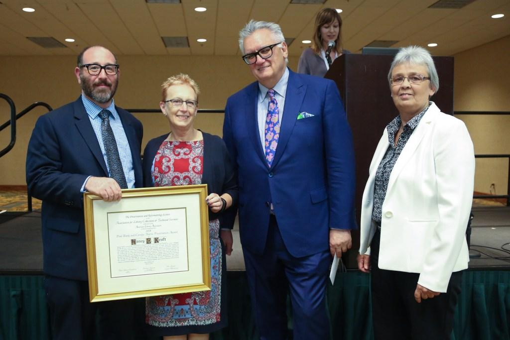 Nancy kraft accepting the Banks Harris award